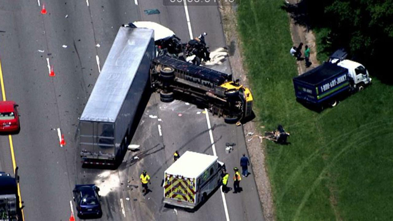 Crash involving tractor-trailer and several other vehicles along Interstate 40 Thursday.