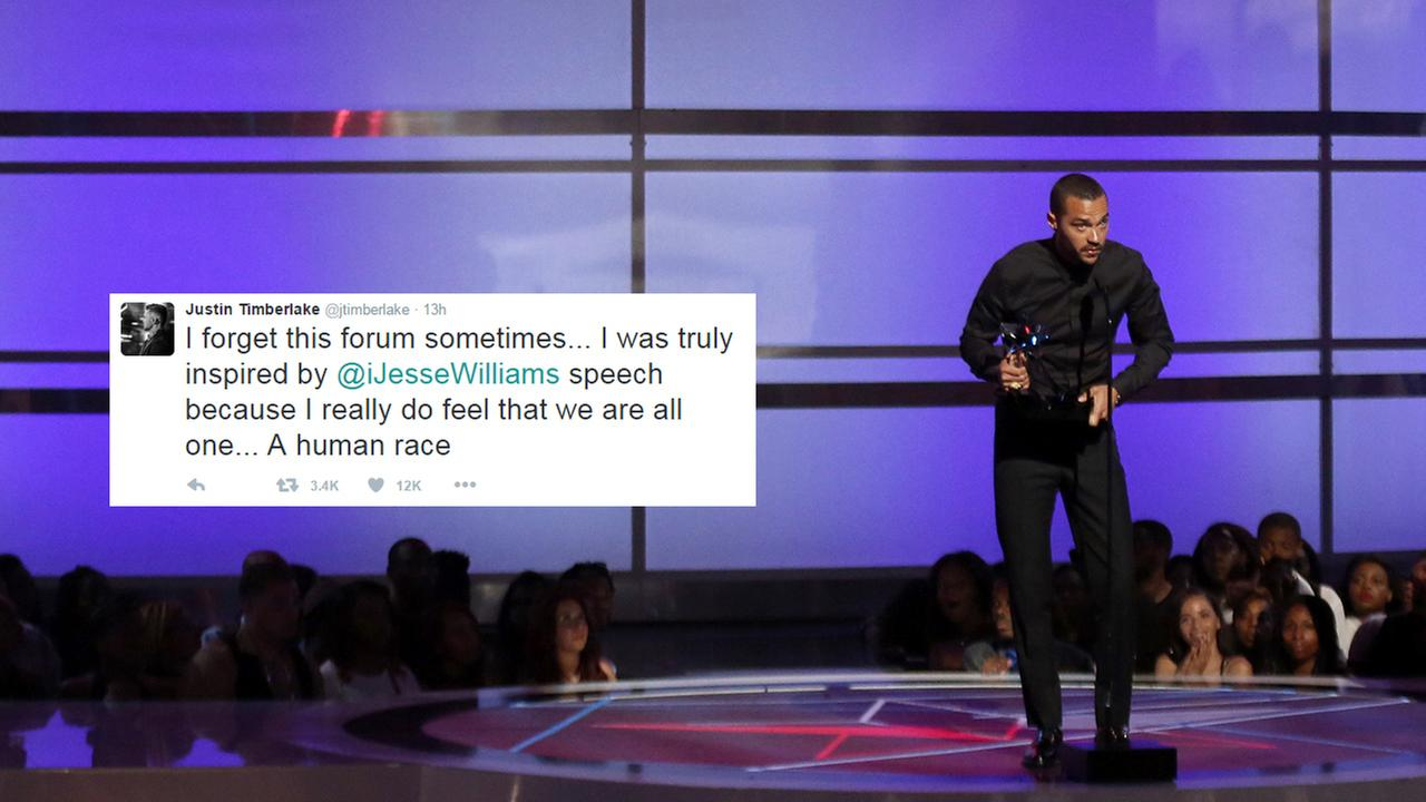 Jesse Williams accepts the humanitarian award at the BET Awards  on Sunday, June 26, 2016, in Los Angeles.  Left, a tweet by Justin Timberlake after the show.