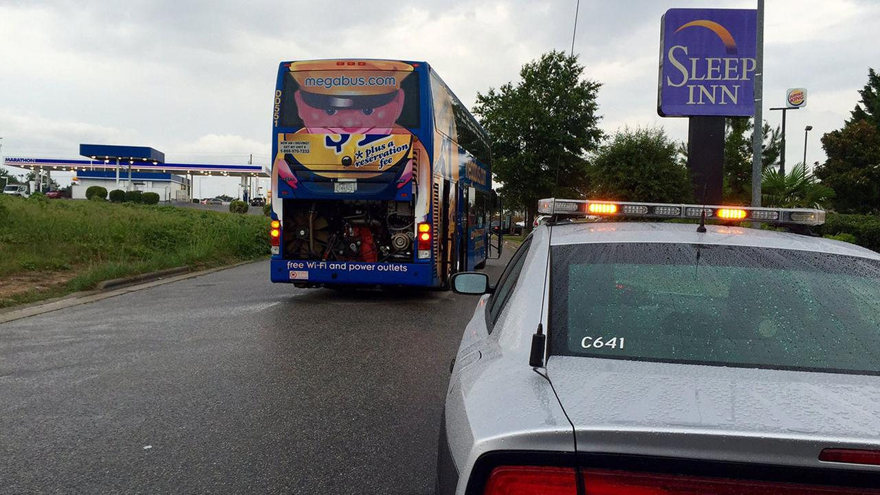 Megabus broken down on Commerce Parkway in Garner