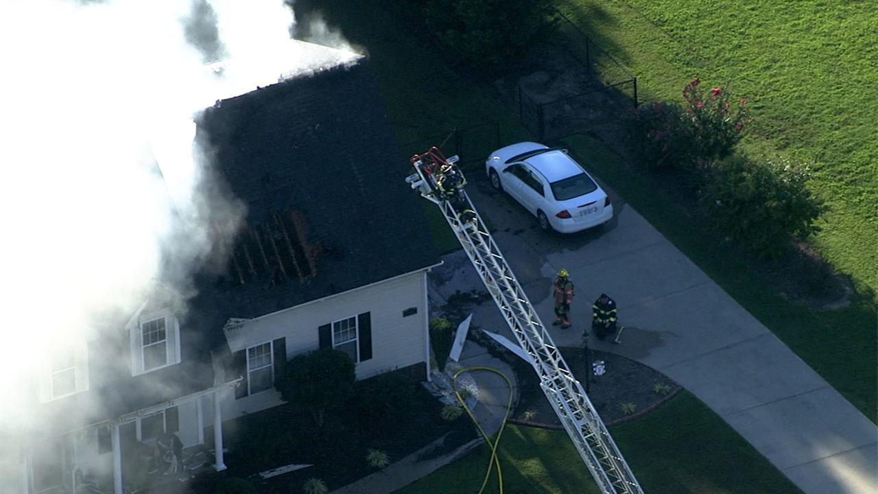 Firefighters battle a large house fire on Cortona Way near Wendell.Chopper 11 HD