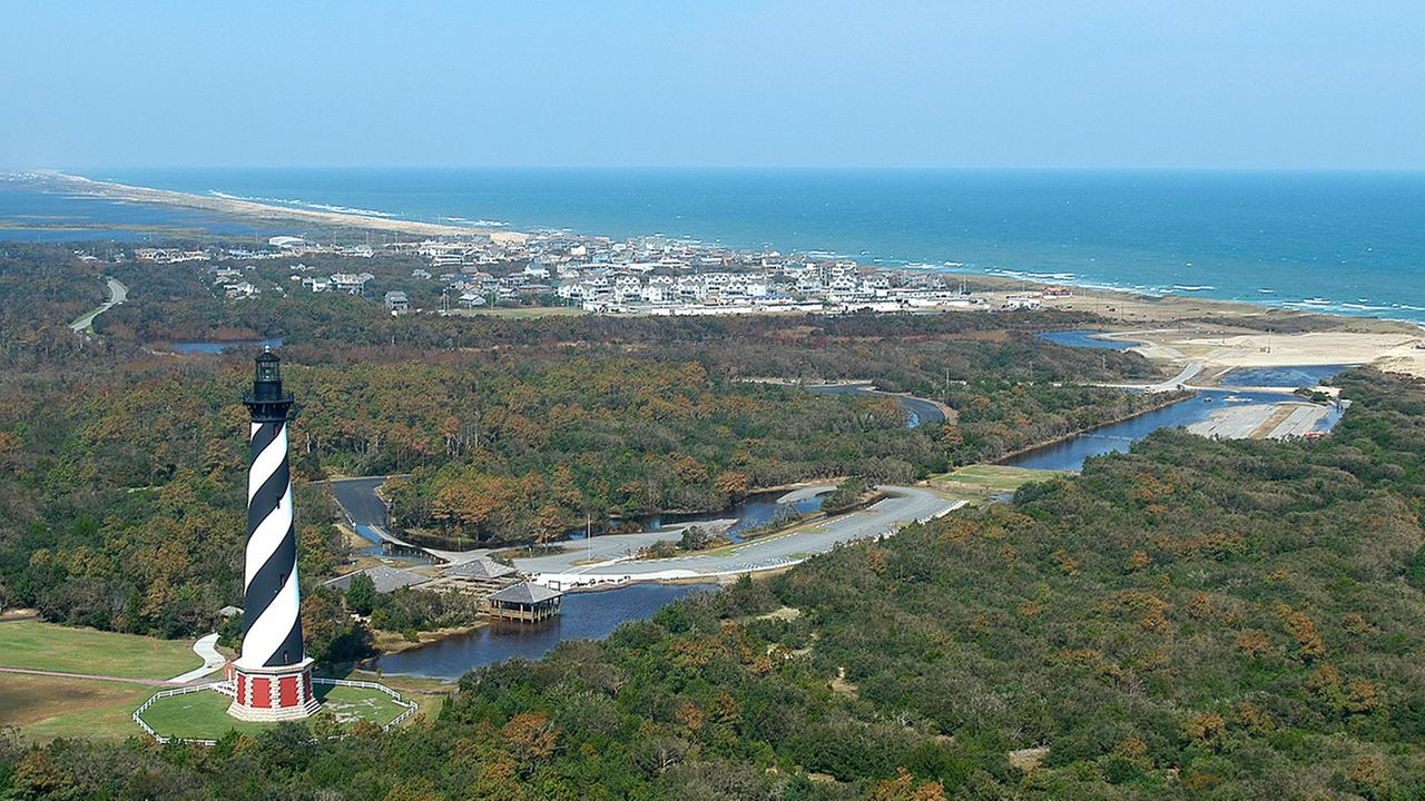 The Cape Hatteras Lighthouse, the tallest lighthouse on the East Coast, overlooks the Atlantic Ocean and the village of Buxton, N.C., in this 2003 photo.