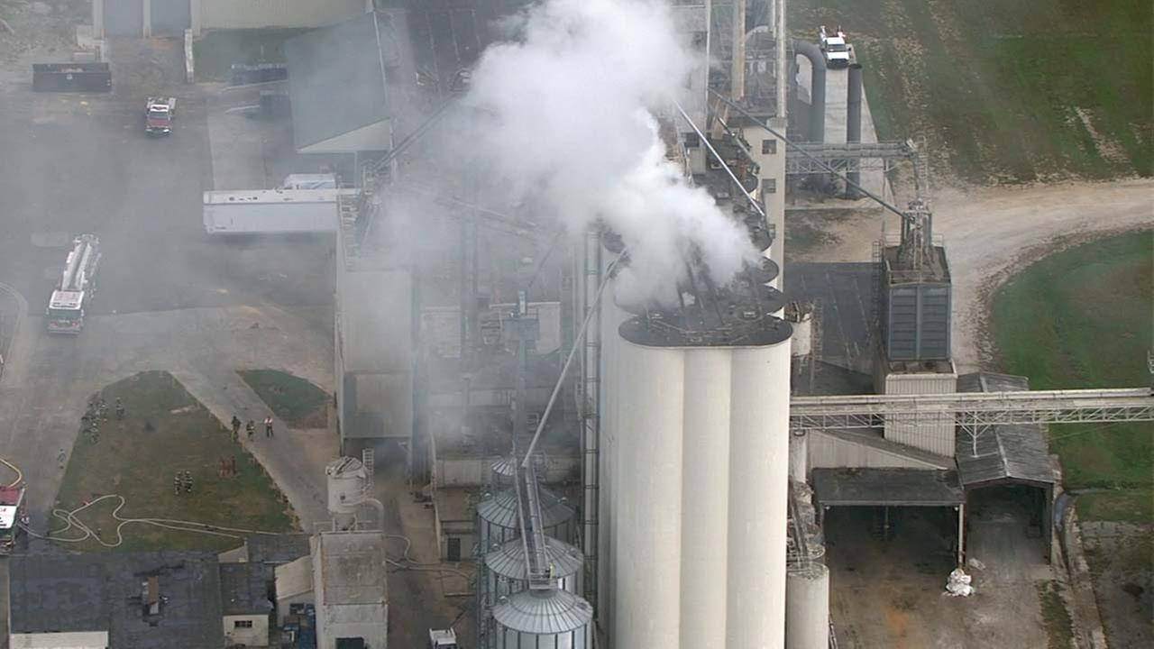 Wilson firefighters took on a fire in a grain elevator in the 17-hundred block of Ward Boulevard Monday.