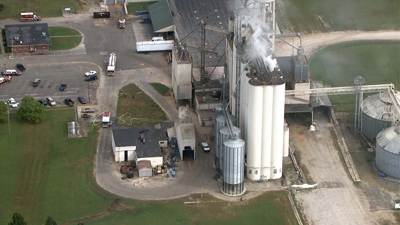 Wilson firefighters took on a fire in a grain elevation in the 17-hundred block of Ward Boulevard Monday.