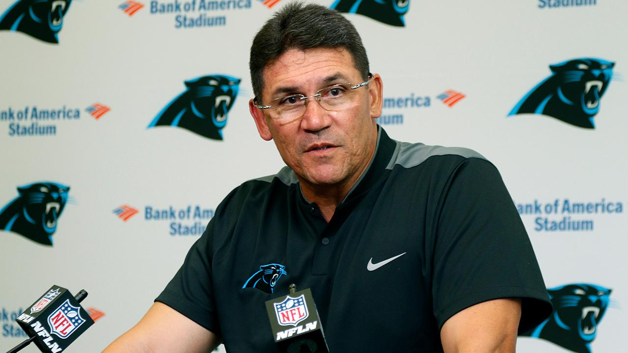 Carolina Panthers head coach Ron Rivera speaks to the media after a preseason NFL football game against the Pittsburgh Steelers in Charlotte, N.C., Thursday, Sept. 1, 2016.