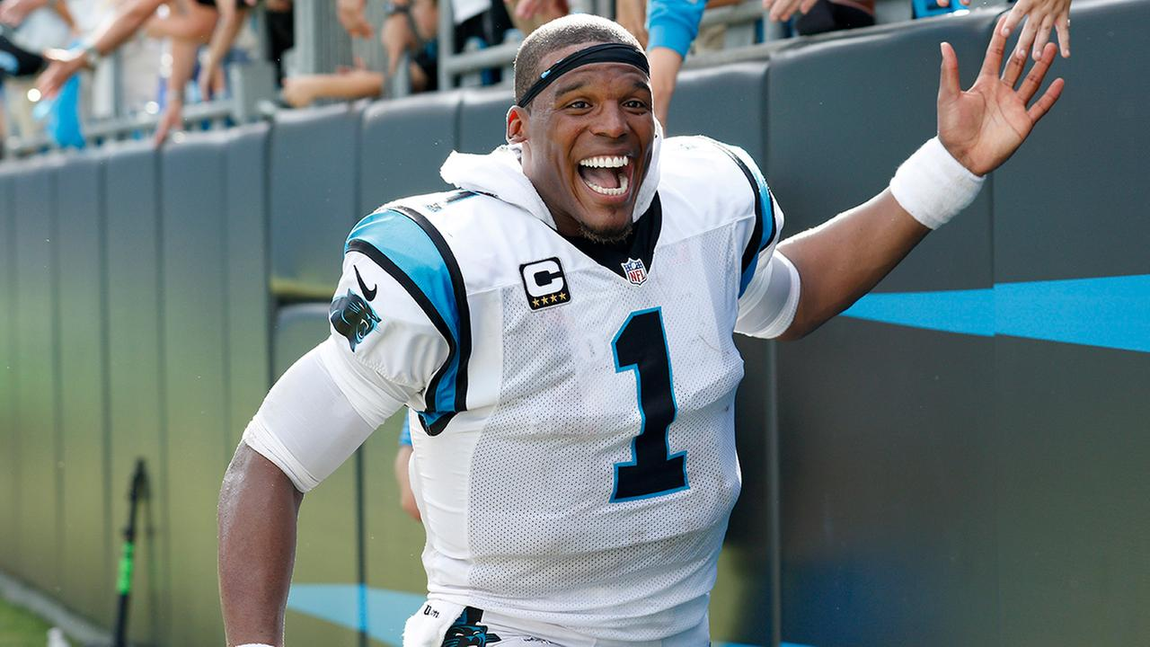 Carolina Panthers Cam Newton (1) celebrates with fans following an NFL football game against the San Francisco 49ers in Charlotte, N.C., Sunday, Sept. 18, 2016.