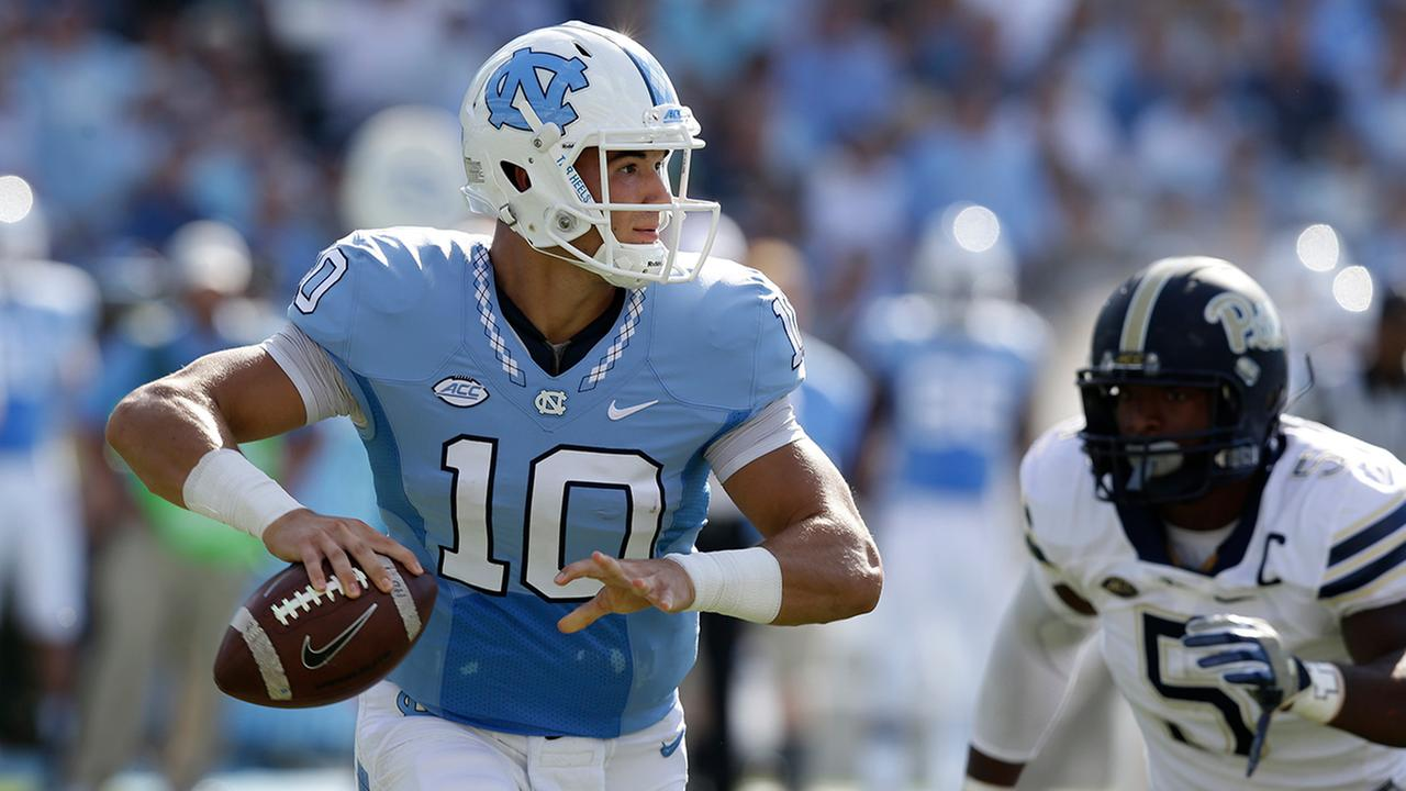North Carolina quarterback Mitch Trubisky passes against Pittsburgh during the first half of an NCAA college football game in Chapel Hill, N.C., Saturday, Sept. 24, 2016.