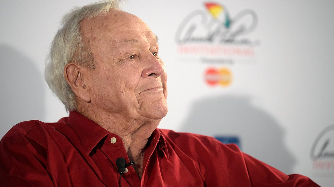 Arnold Palmer takes a question from a reporter at a news conference during a pro-am of the Arnold Palmer Invitational golf tournament in Orlando, Fla., Wednesday, March 18, 2015.