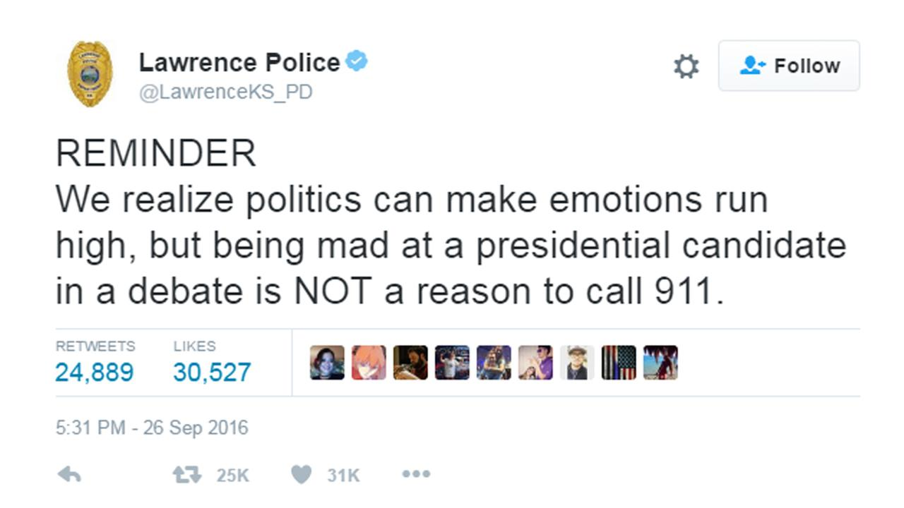 The Lawrence Police Department had a reminder for those watching the debate