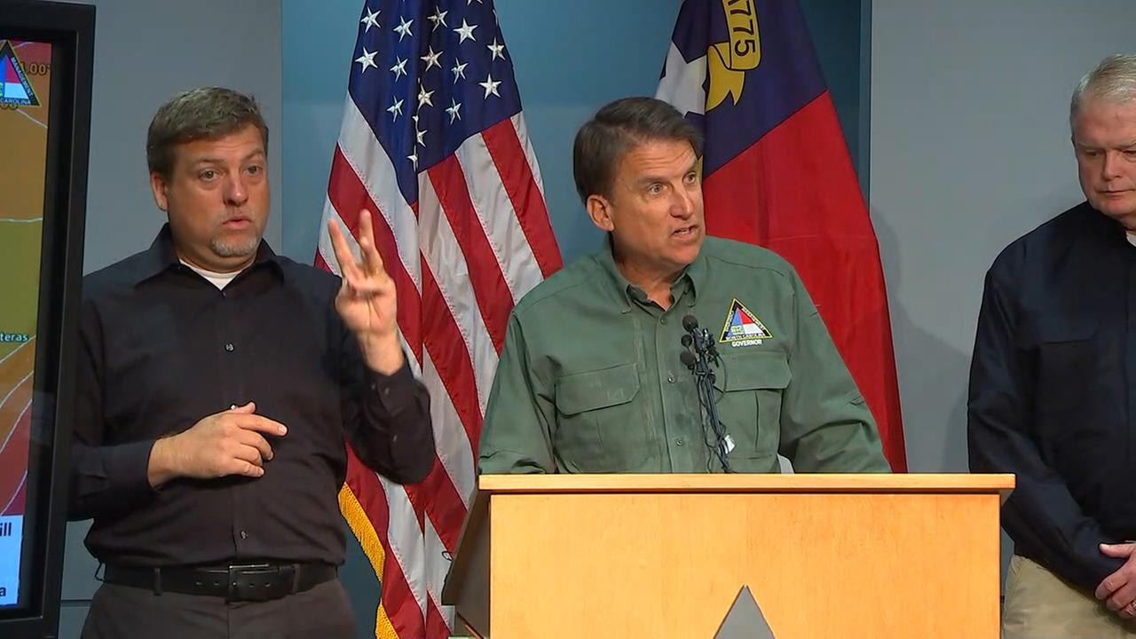 Gov. McCrory provides update on states response to Hurricane Matthew