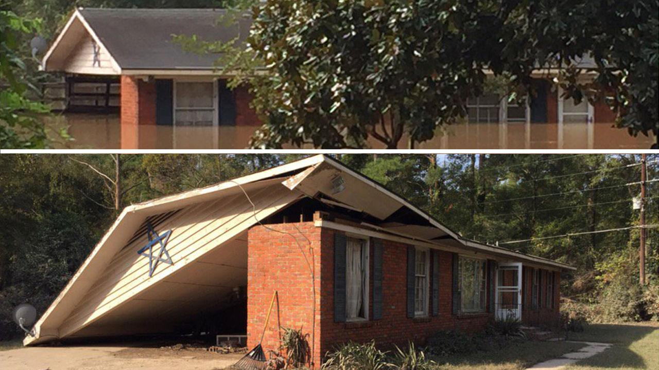Shaina and Cleveland Williams house barely survived the first flood in Cumberland County last week. The bottom photo is what Hurricane Matthew did.