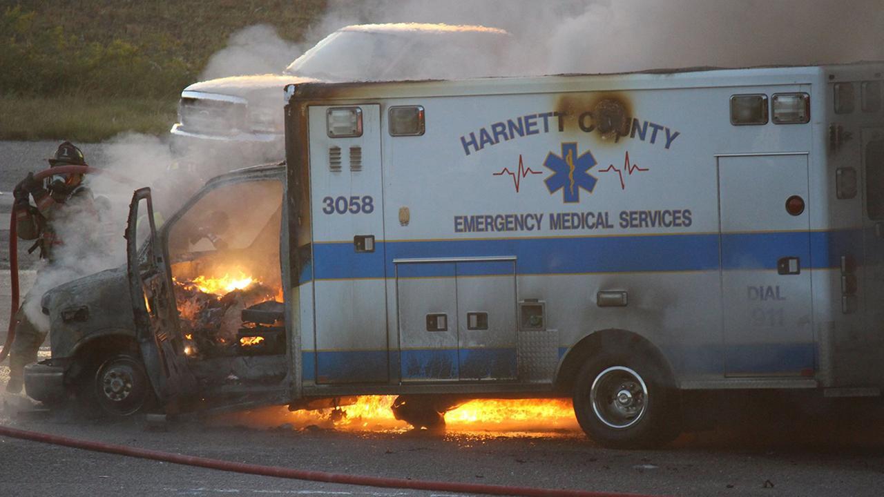 Harnett County ambulance on fire