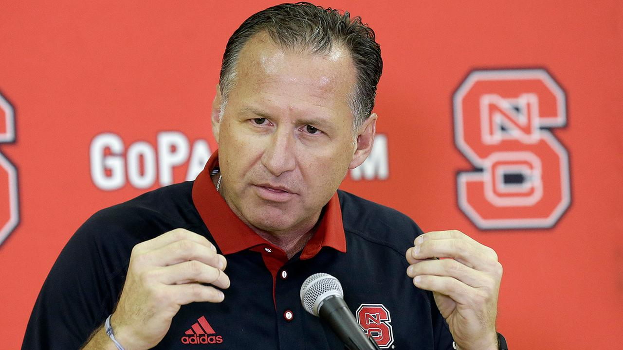 North Carolina State head coach Mark Gottfried speaks to members of the media during a NCAA college basketball teams media day in Raleigh, N.C.
