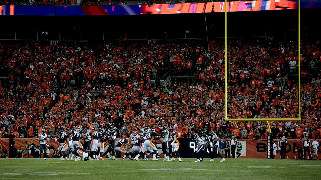 The Houston Texans and the Denver Broncos play during the first half of an NFL football game, Monday, Oct. 24, 2016, in Denver.
