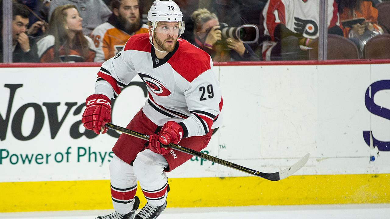 Carolina Hurricanes Bryan Bickell in action against the Philadelphia Flyers, Saturday, Oct. 22, 2016, in Philadelphia. The Flyers won 6-3