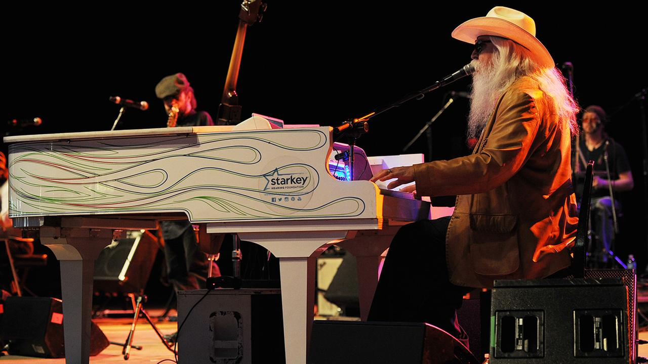 Leon Russell performs at the Sunshine Music and Blues Festival at the Mizner Park Amphitheater on January 18, 2014 in Boca Raton, Florida.