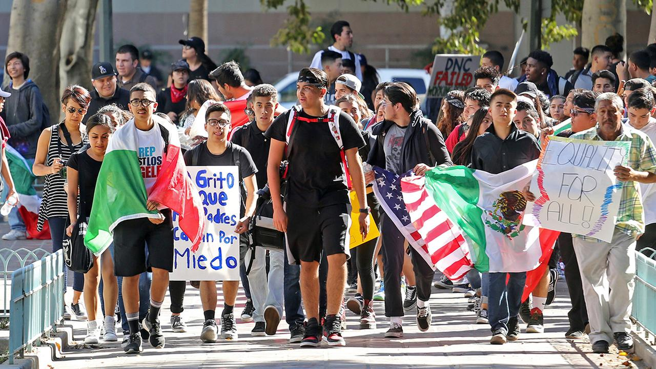 Students from several high schools rally after walking out of classes to protest the election of Donald Trump as president in downtown Los Angeles Monday, Nov. 14, 2016.