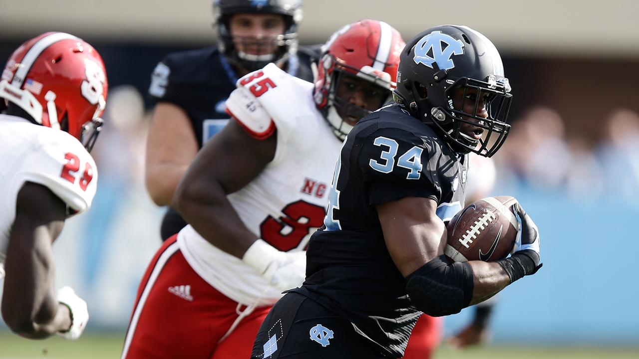 North Carolinas Elijah Hood (34) finished with 56 yards.Gerry Broome