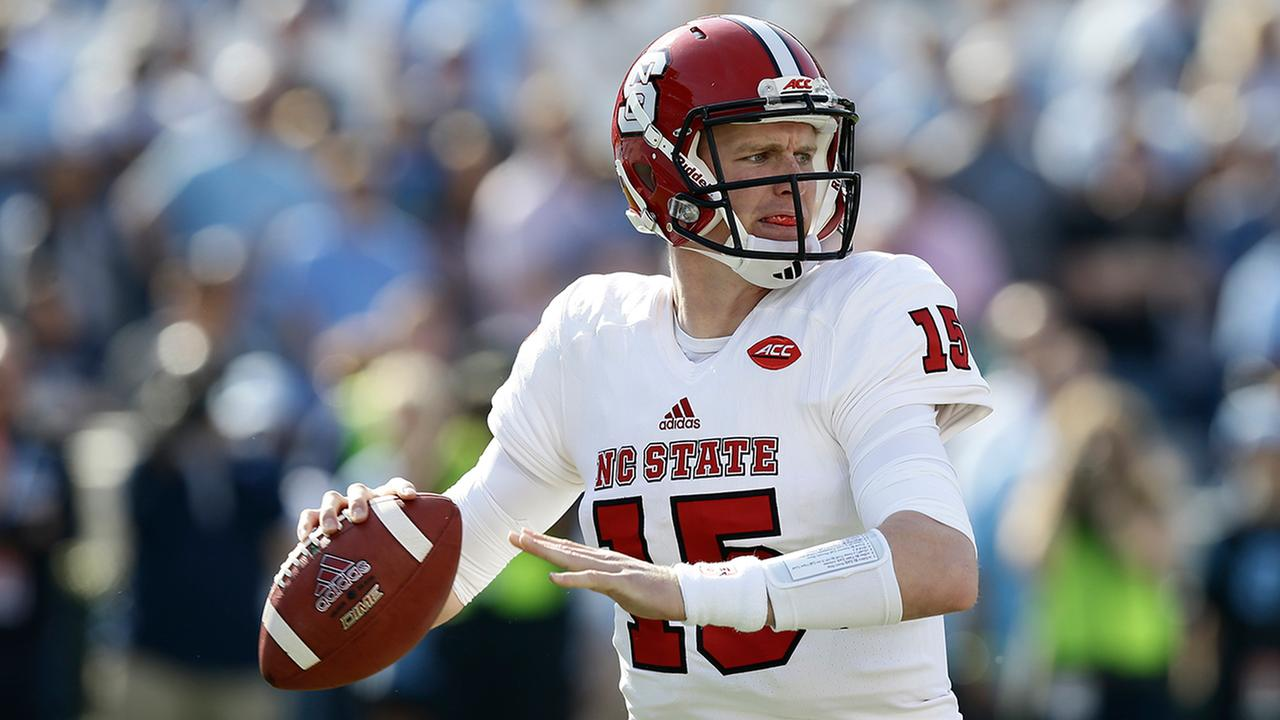North Carolina State quarterback Ryan Finley looks to pass during the first half.Gerry Broome