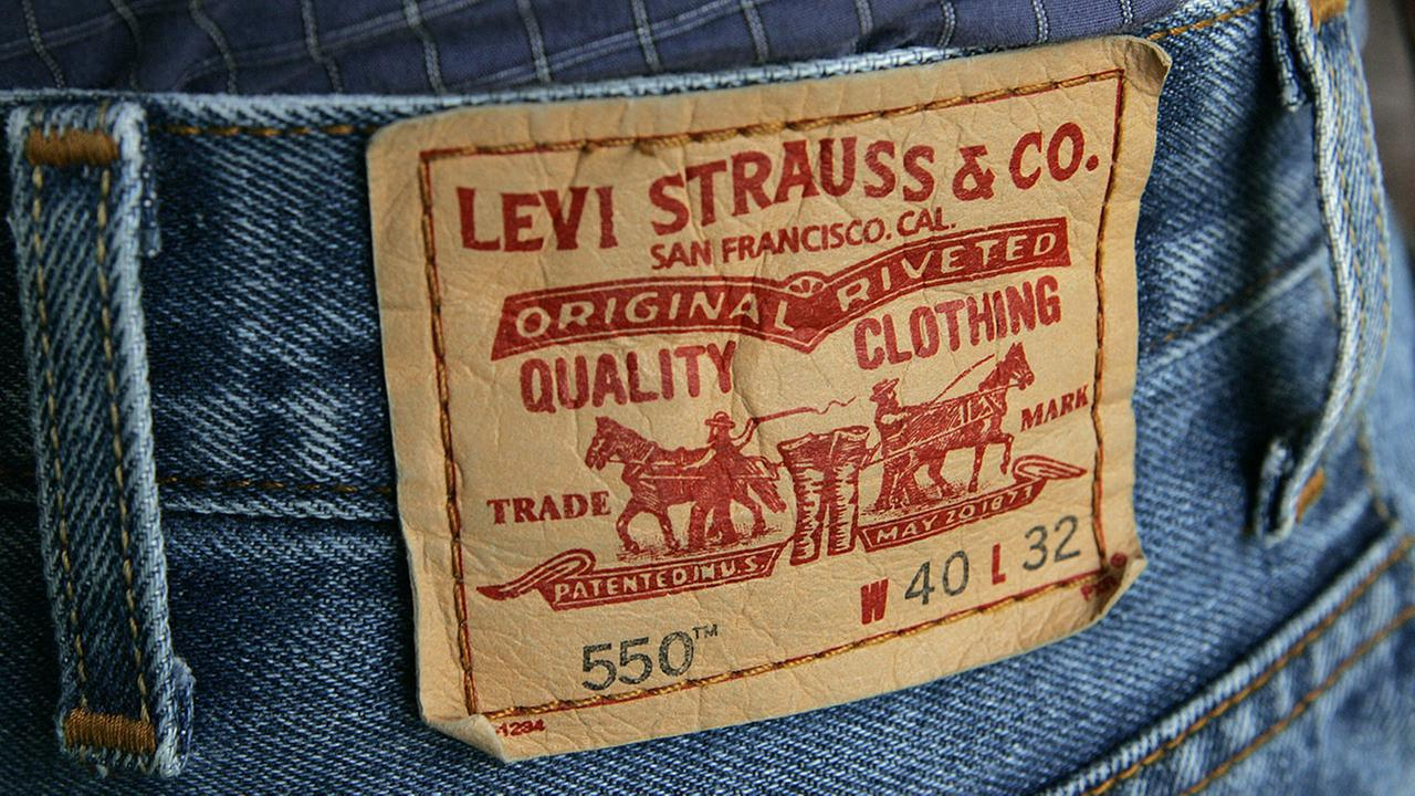 The familiar red tag from a pair of Levis 550 jeans is seen in this Oct. 11, 2005 file photo, in San Francisco.
