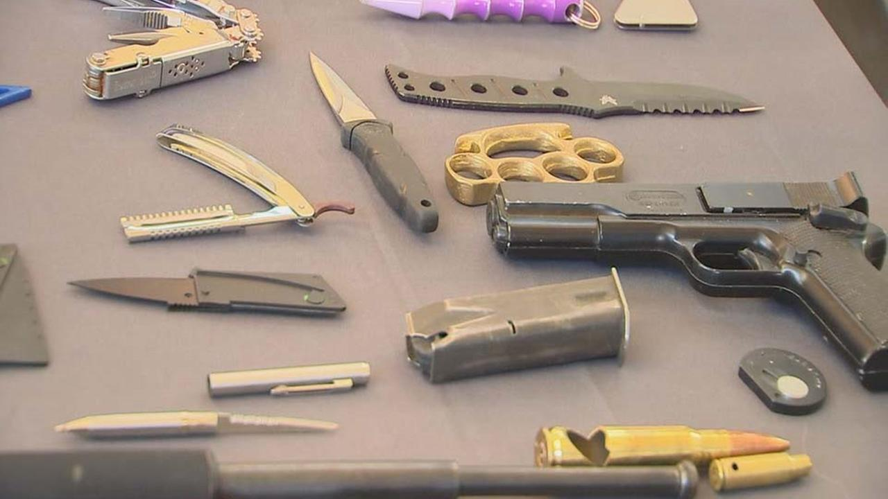 Some of the things the TSA has confiscated at RDU (WTVD Photo/Jeremy Baker)