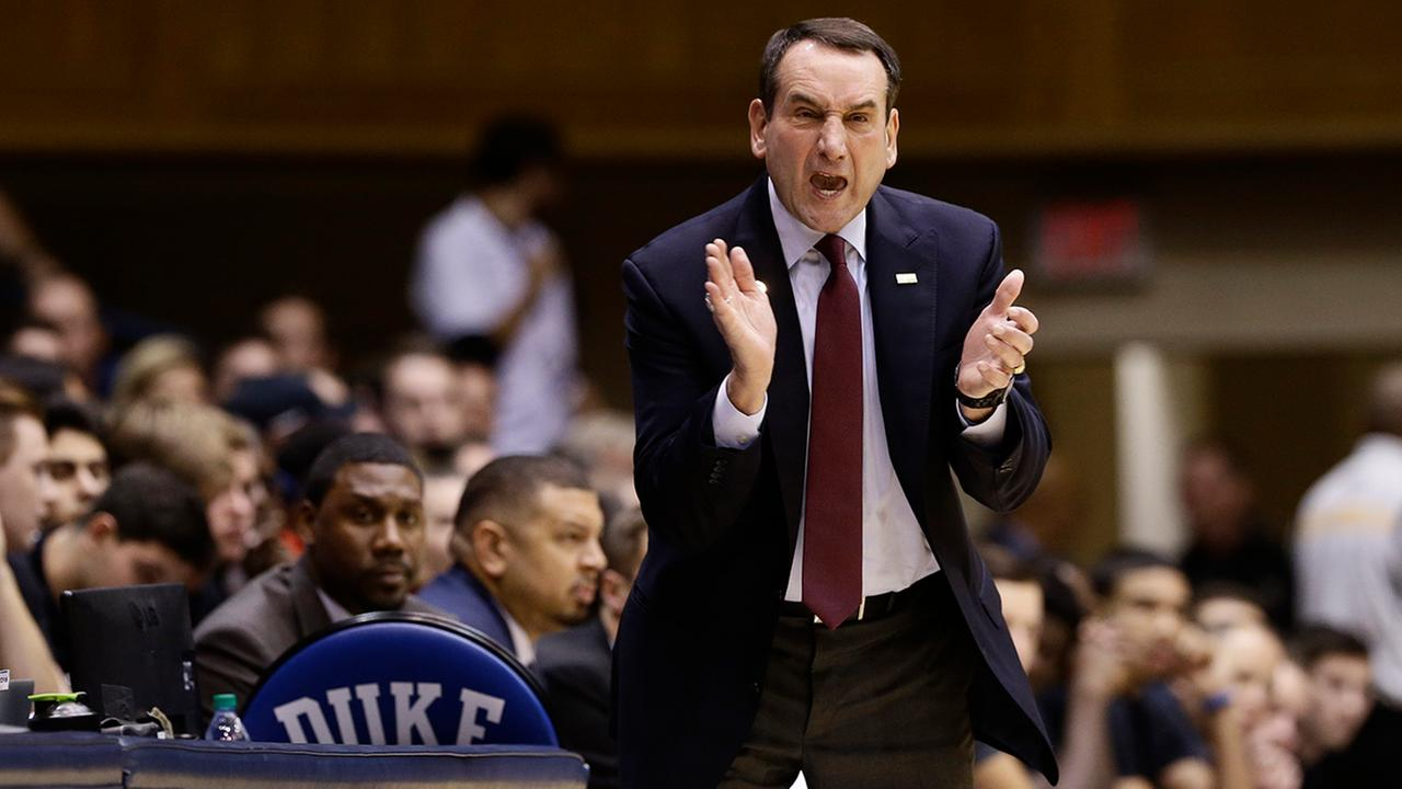 Duke coach Mike Krzyzewski reacts during a basketball game in Durham, N.C.