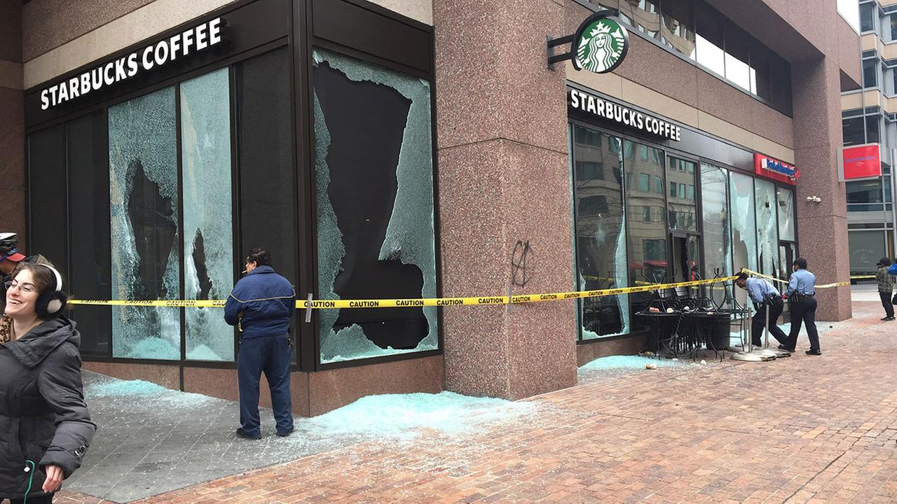 National Guard and DC Metro PD on scene of vandalized businesses Friday.