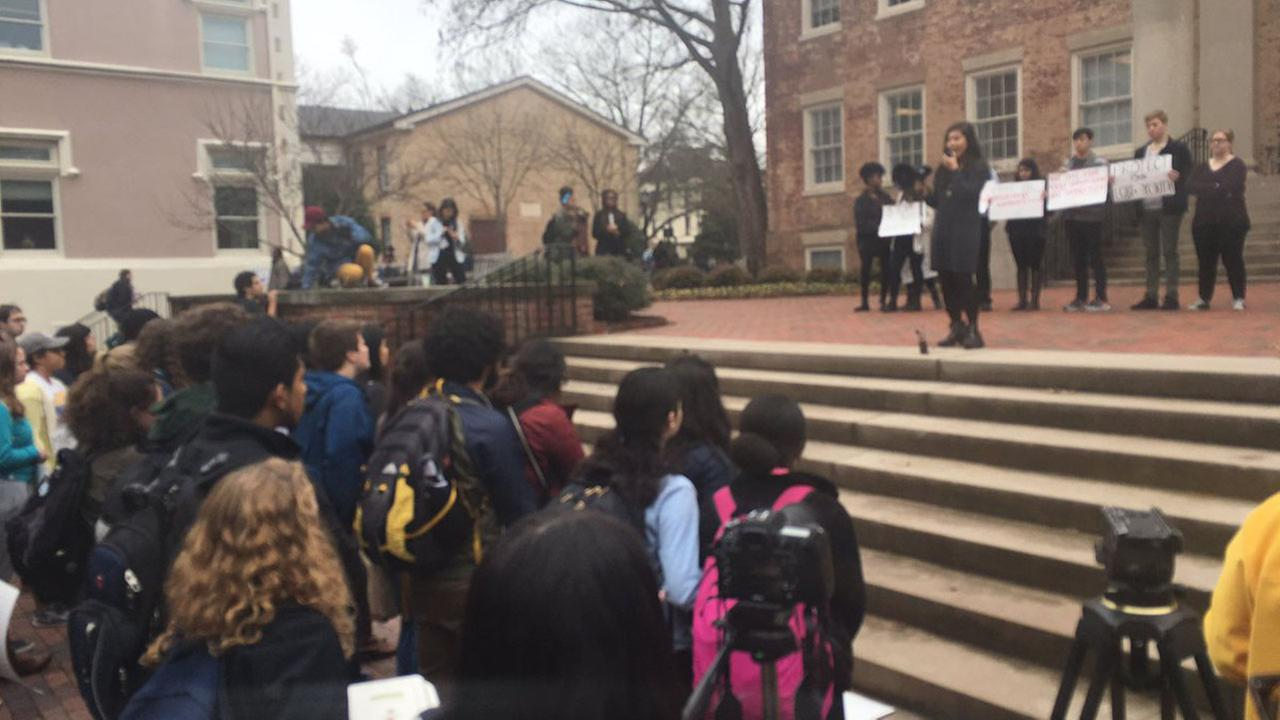 Students gather on UNCs campus for a peaceful protest