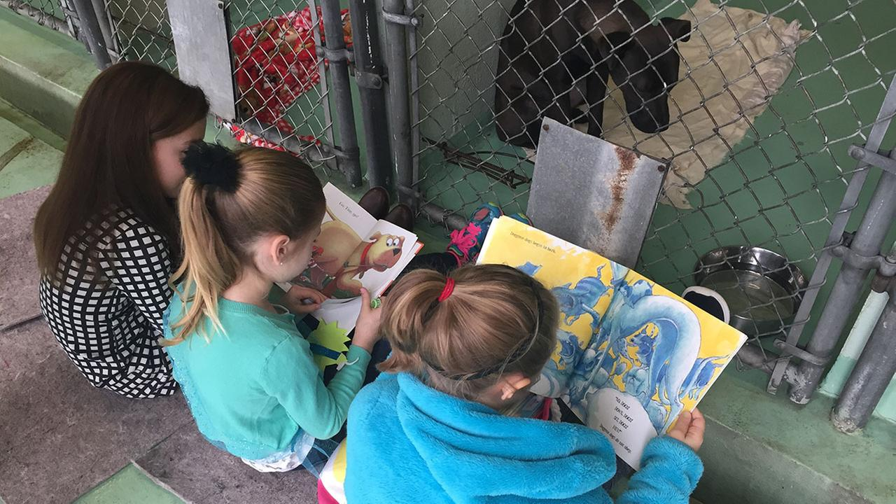 Logan and her friends read to shelter animals in Durham