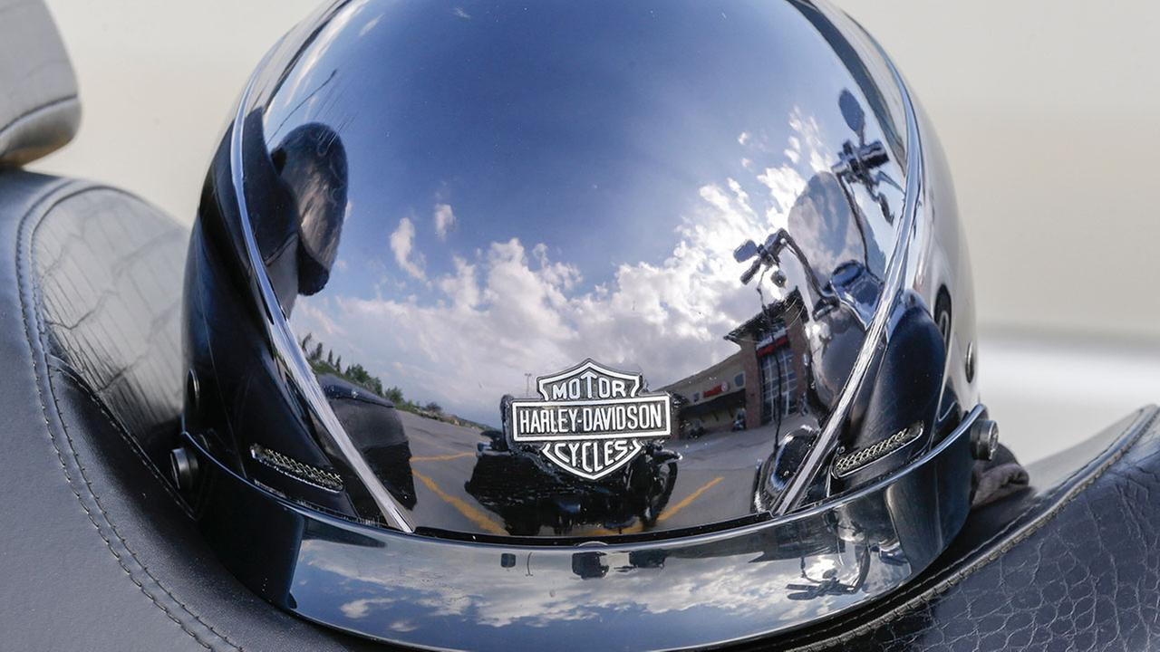 Helmet on a motorcycle