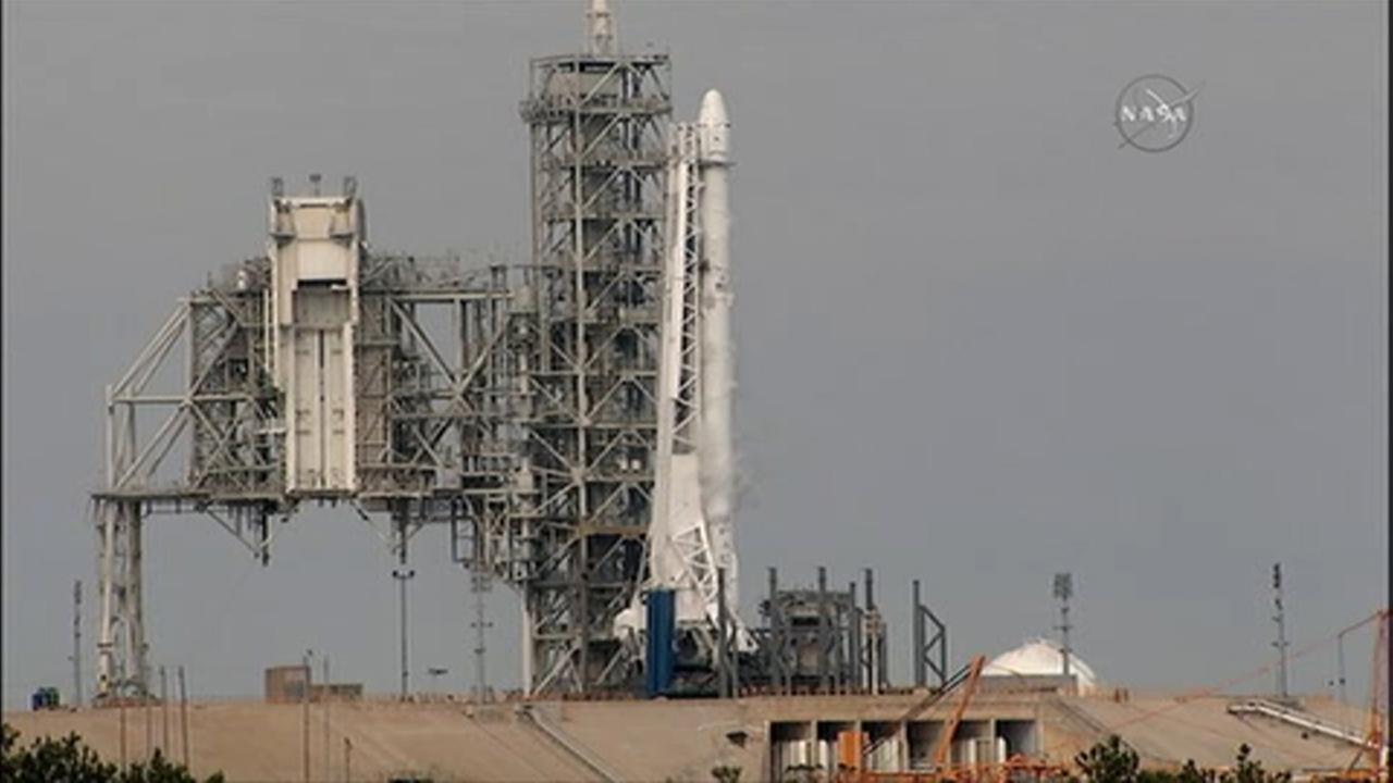 Falcon rocket stands at Launch Complex 39A