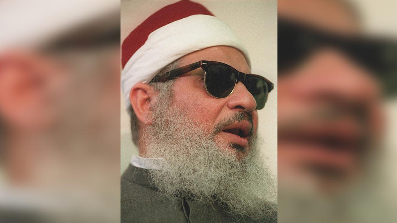 Omar Abdel Rahman, seen in a 1993 file photo, is in the United States serving a life sentence for plotting to bomb New York landmarks, including the World Trade Center