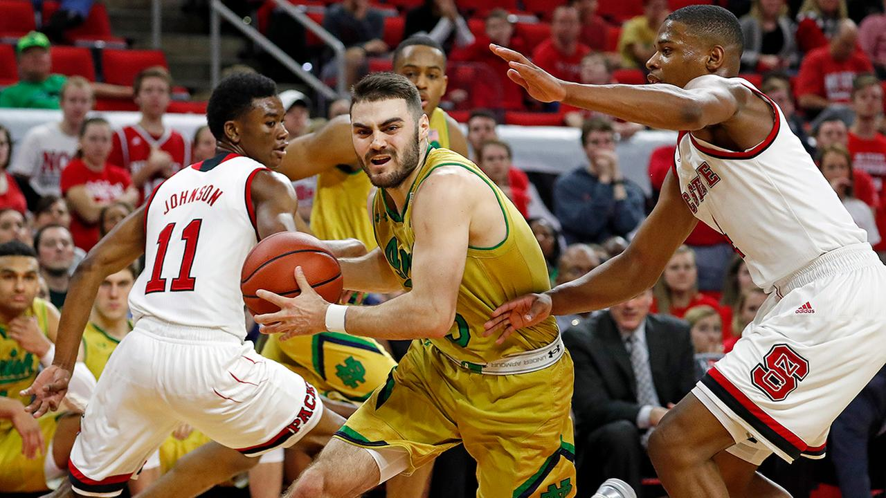 Notre Dames Matt Farrell (5) drives the ball around North Carolina State s Dennis Smith Jr., right, during the second half of an NCAA college basketball game in Raleigh, N.C., Saturday, Feb. 18, 2017. Notre Dame won 81-72.