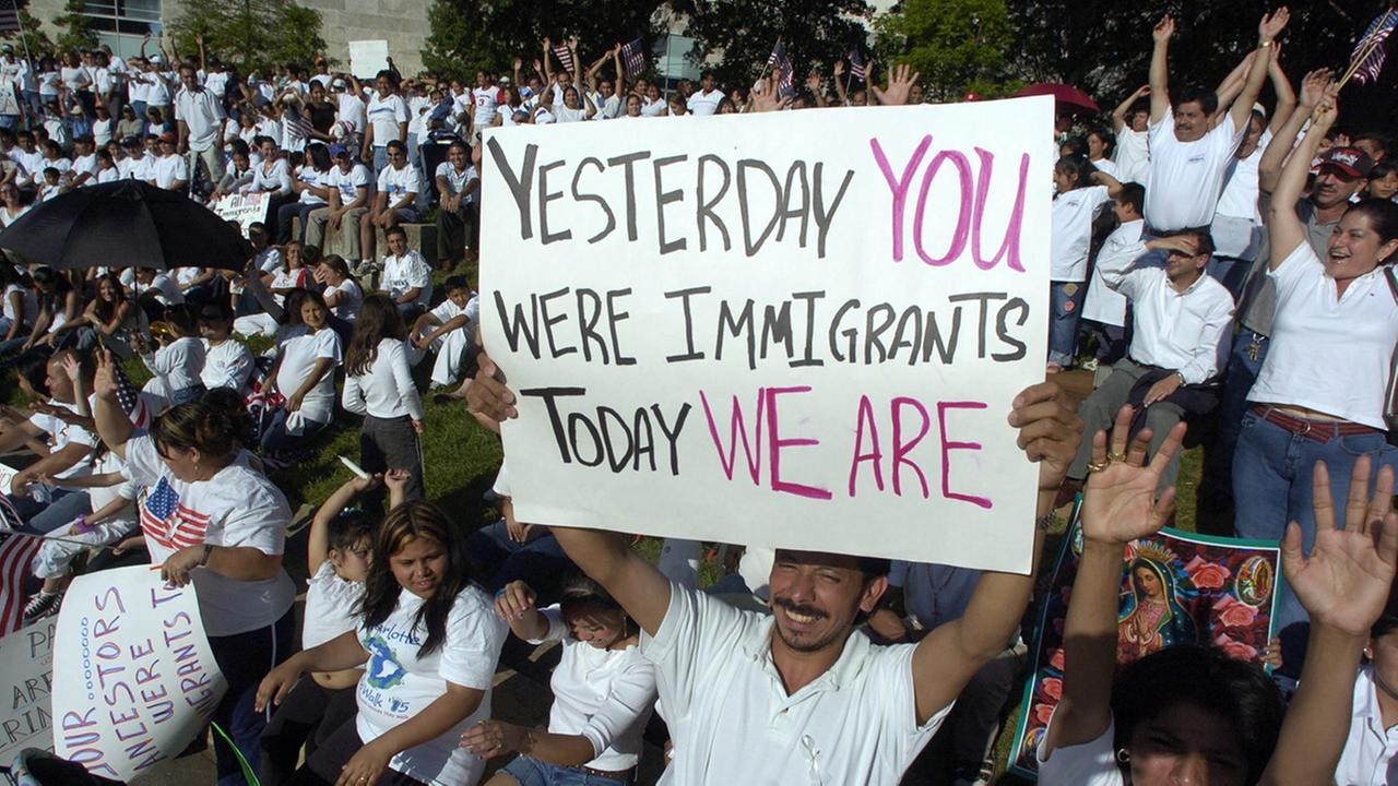 People participate in a rally against proposed changes in the United States immigration law Monday, May 1, 2006, in Charlotte, N.C.