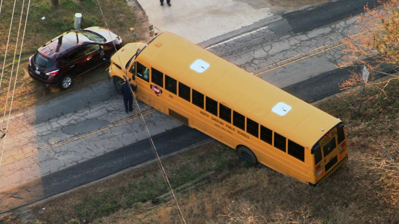 School bus stuck on Herndon Road at Barbee Road in Durham Tuesday morning