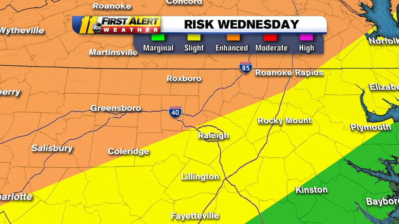 Severe Risk increased to Enhanced for Northern 1/2 of our viewing area.