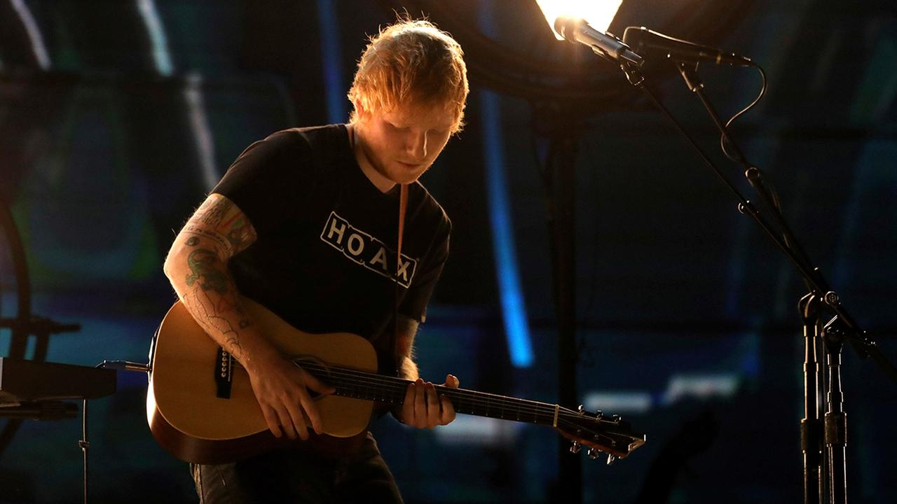 Ed Sheeran performs Shape of You at the 59th annual Grammy Awards on Sunday, Feb. 12, 2017, in Los Angeles.