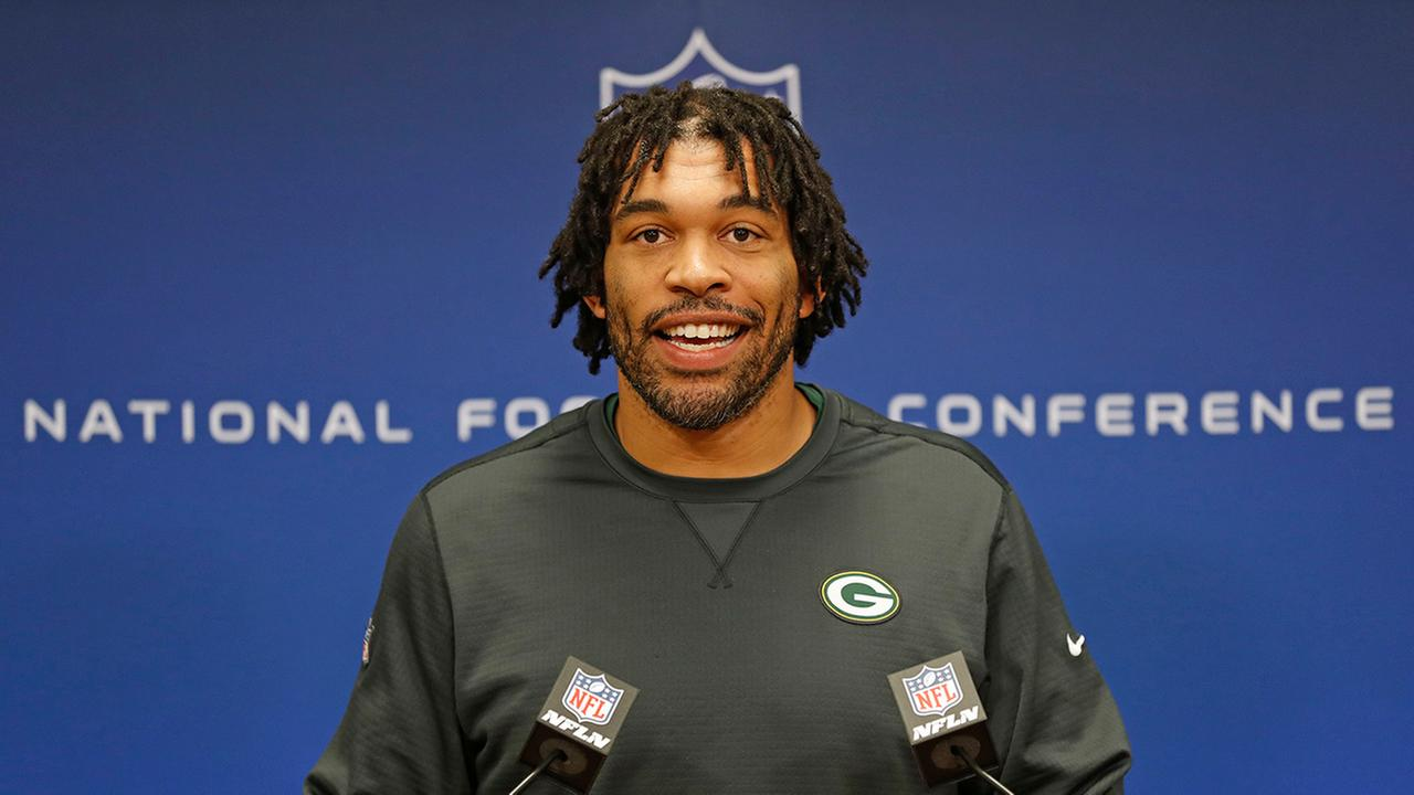 Green Bay Packers outside linebacker Julius Peppers speaks with the media during an NFL football press conference Wednesday Jan. 18, 2017, in Green Bay, Wis.