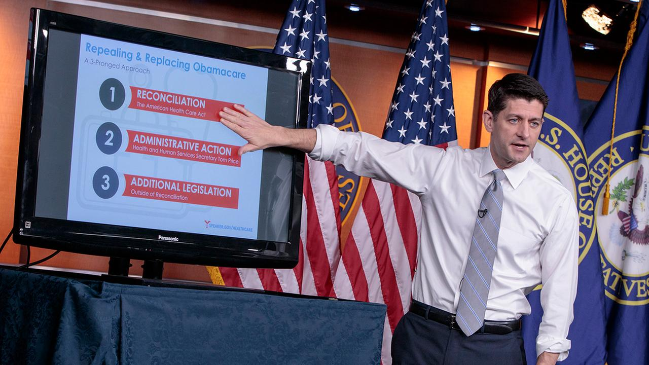 House Speaker Paul Ryan of Wis. uses charts and graphs to make his case for the GOPs long-awaited plan to repeal and replace the Affordable Care Act, Thursday, March 9, 2017, during a news conference on Capitol Hill in Washington.