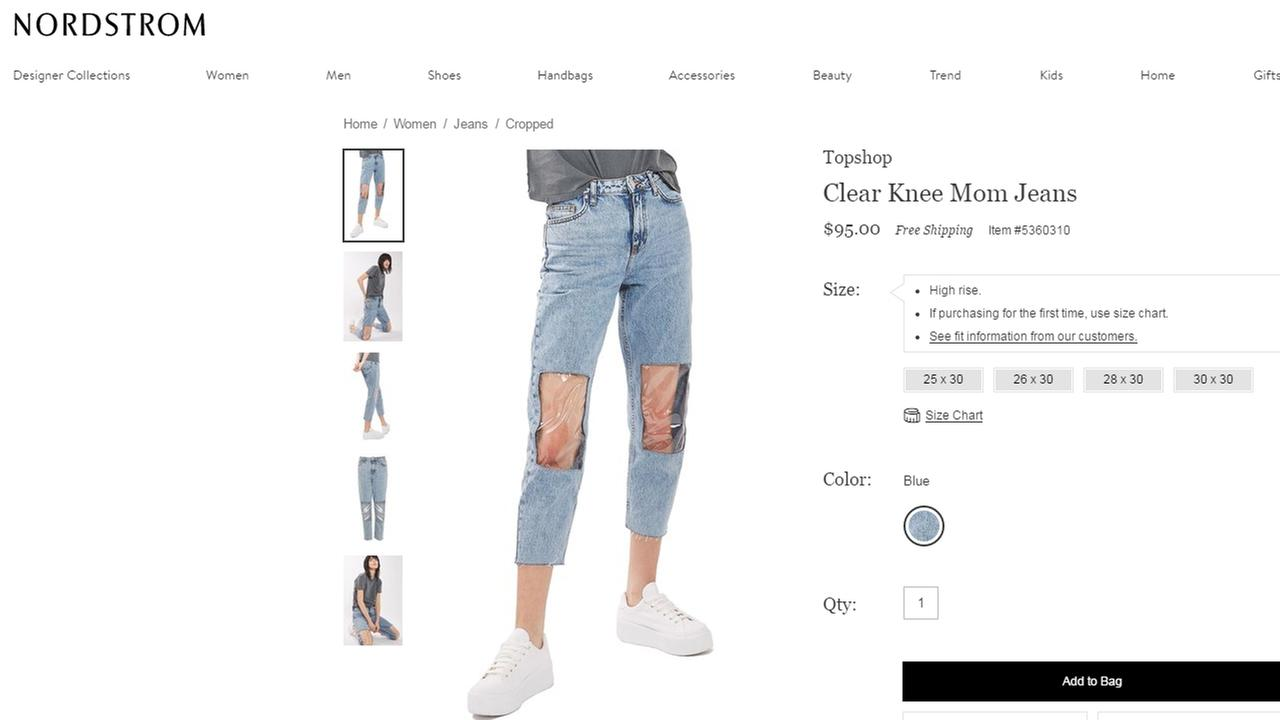Mom jeans are back, but with clear knees?