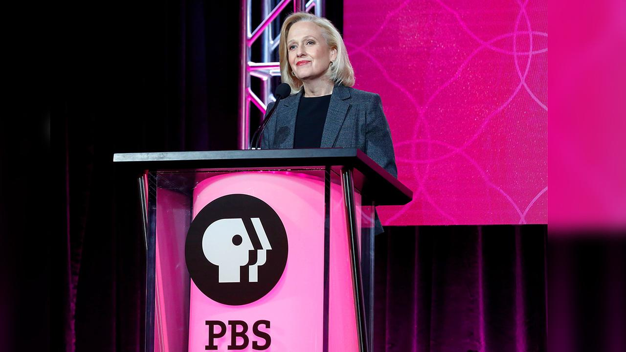 In this Jan. 15, 2017 file photo, President and CEO Paula Kerger speaks at the PBSs Executive Session at the 2017 Television Critics Association press tour in Pasadena, Calif.