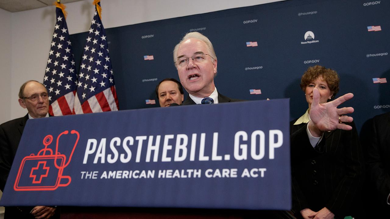 Health and Human Services Secretary Tom Price, center, joined by, from left, Rep. Phil Roe, R-Tenn., Rep. Pat Tiberi, R-Ohio, and Rep. Susan Brooks, R-Ind., speaks during a news conference on Capitol Hill in Washington, Friday, March, 17, 2017
