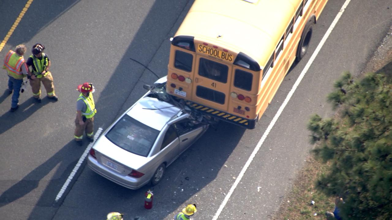 A car collided with a school bus on 15-501 north of Pittsboro