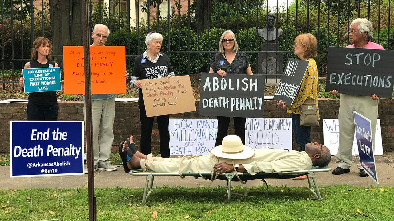 Pulaski County Circuit Judge Wendell Griffen taking part of an anti-death penalty demonstration outside the Governors Mansion Friday April 14, 2017 in Little Rock, Ark.