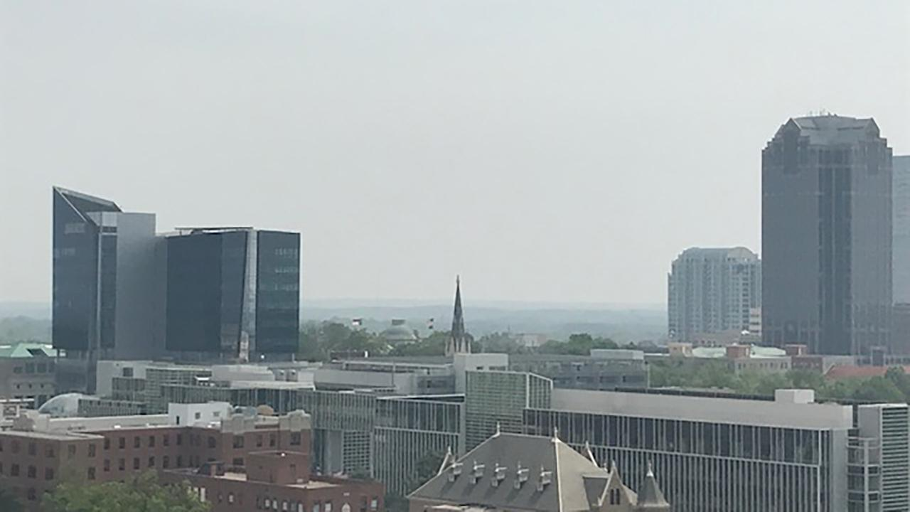 Smoky haze over downtown Raleigh