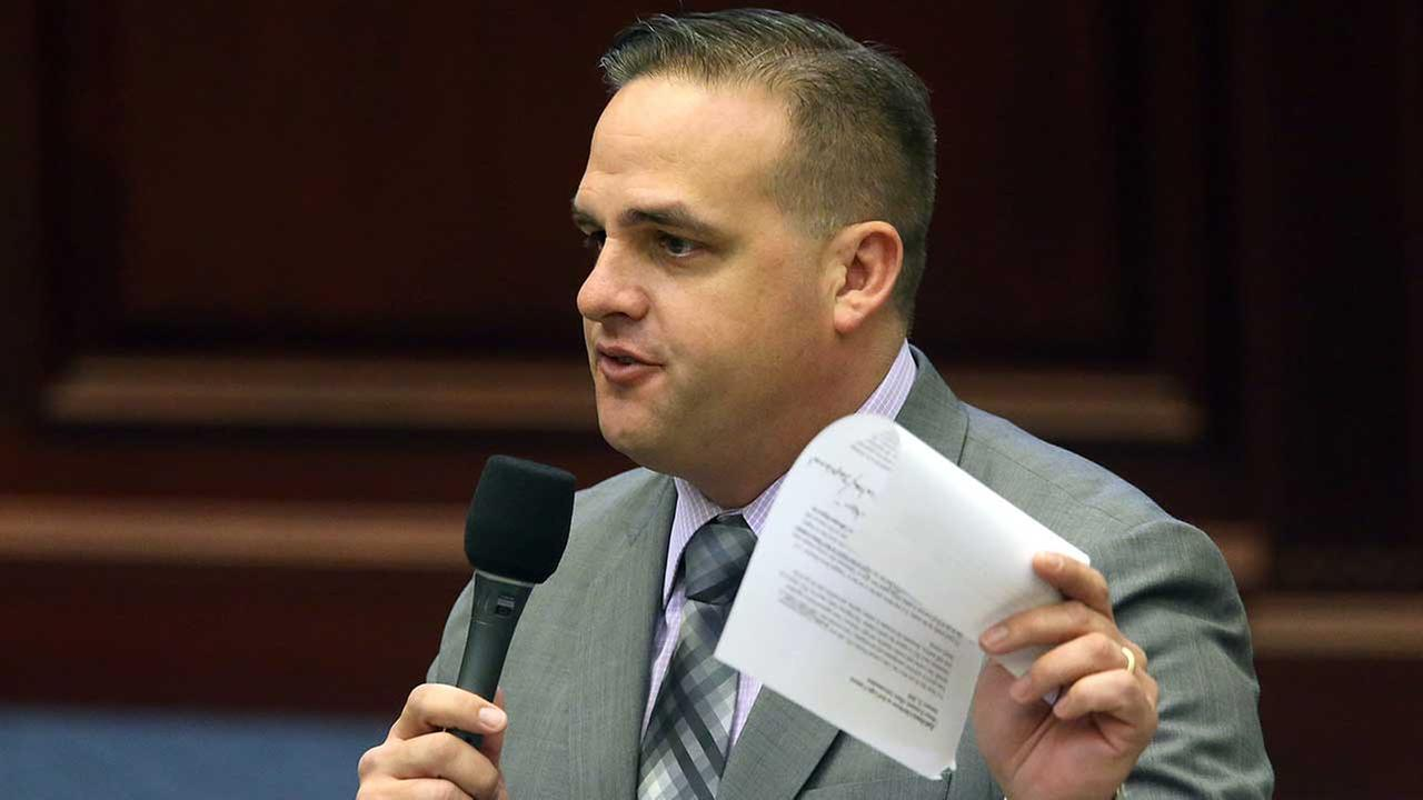 Rep. Frank Artiles, R-Miami, speaks on a bill during session, Wednesday, March 9, 2016, in Tallahassee, Fla.