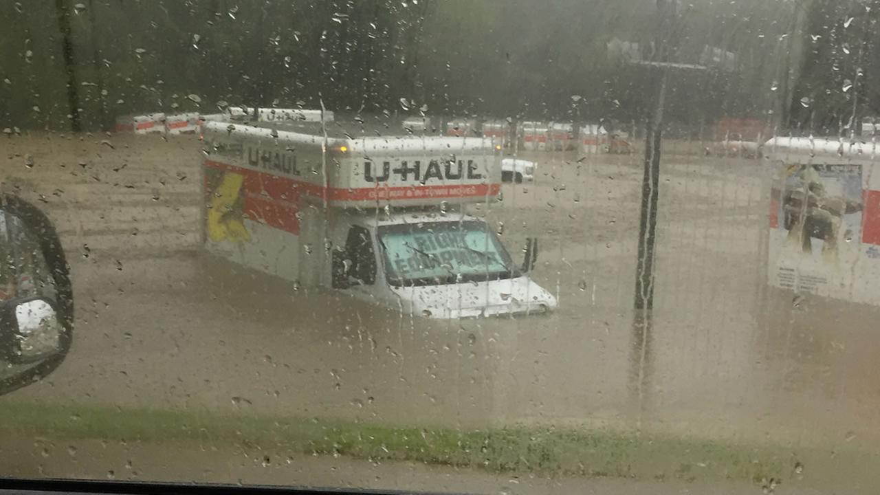 A flooded U-Haul in Raleigh.