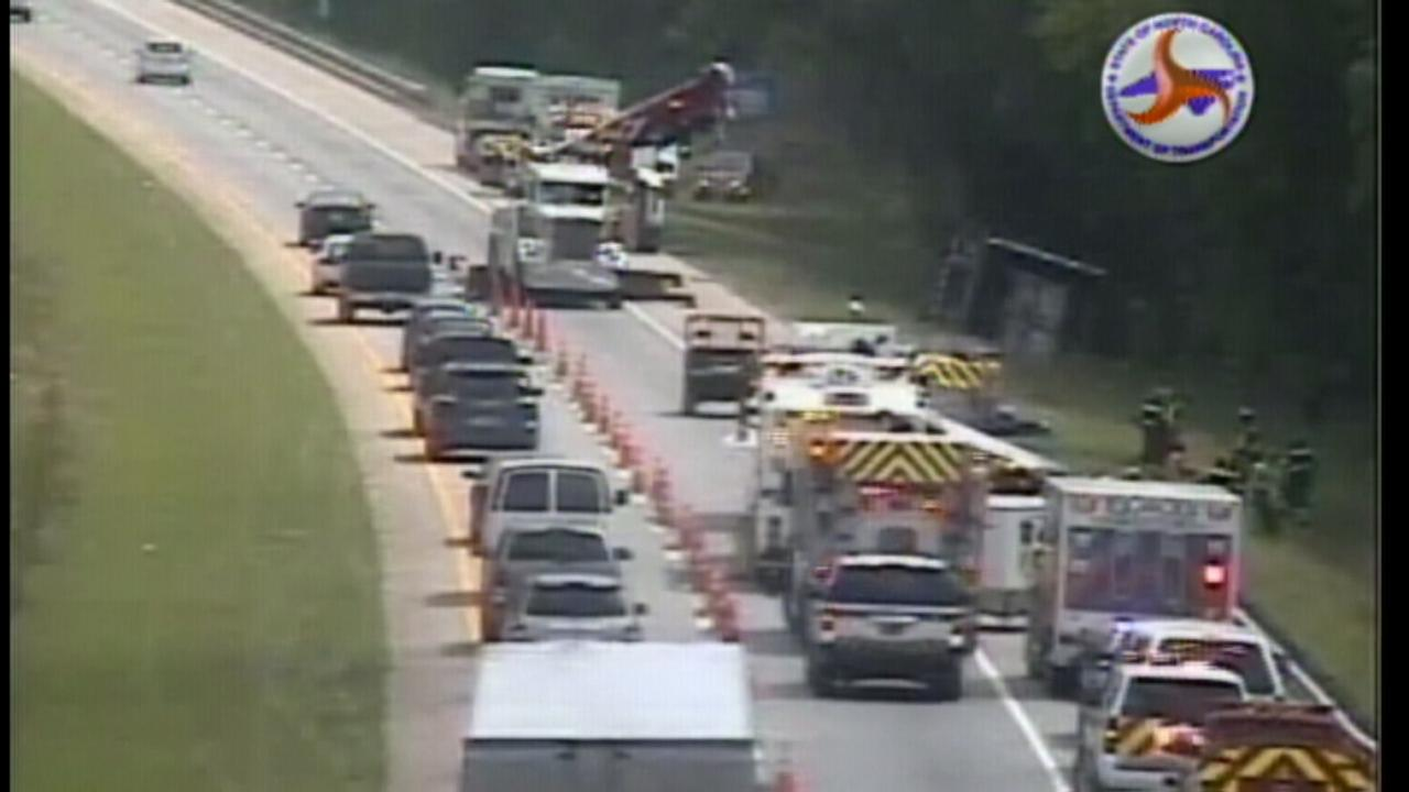 Traffic backups on I-40 east in Orange County