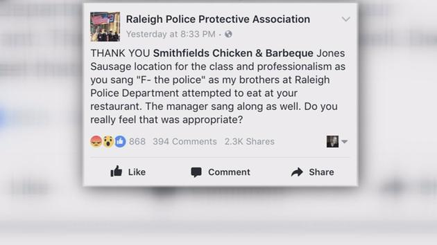 A member of the Raleigh Police Protective Association (RPPA) took to the group's Facebook account to express their disgust