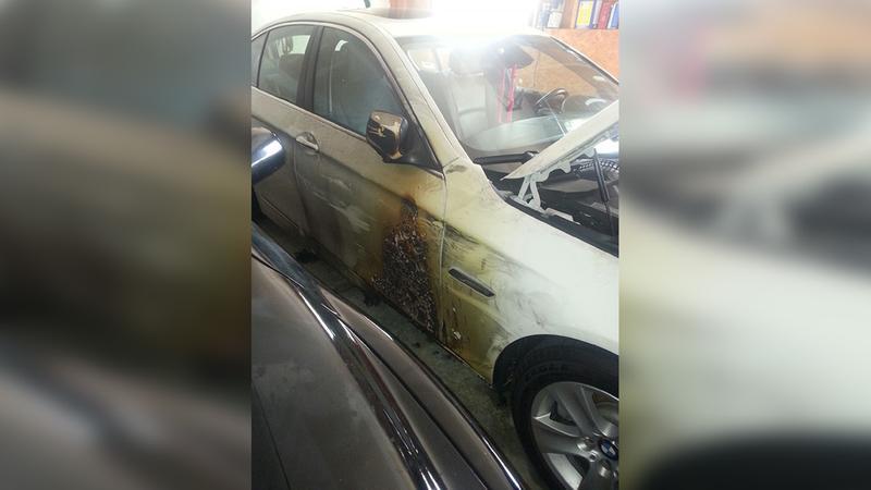Danielle Emersons BMW caught fire inside her garage