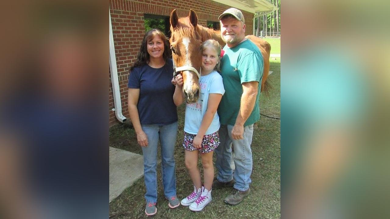 Lucky the horse with his new forever family